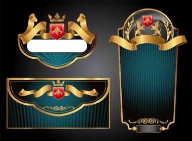 Green and black gold-framed set ot label, envelope and certificate.