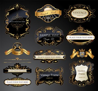 Vector frames and ornamental labels set. All pieces are separated stock vector