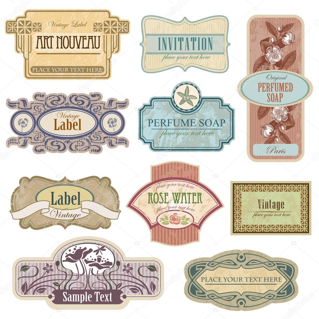 Etiquetas vintage adornadas en estilo Art Nouveau — Vector de stock ...