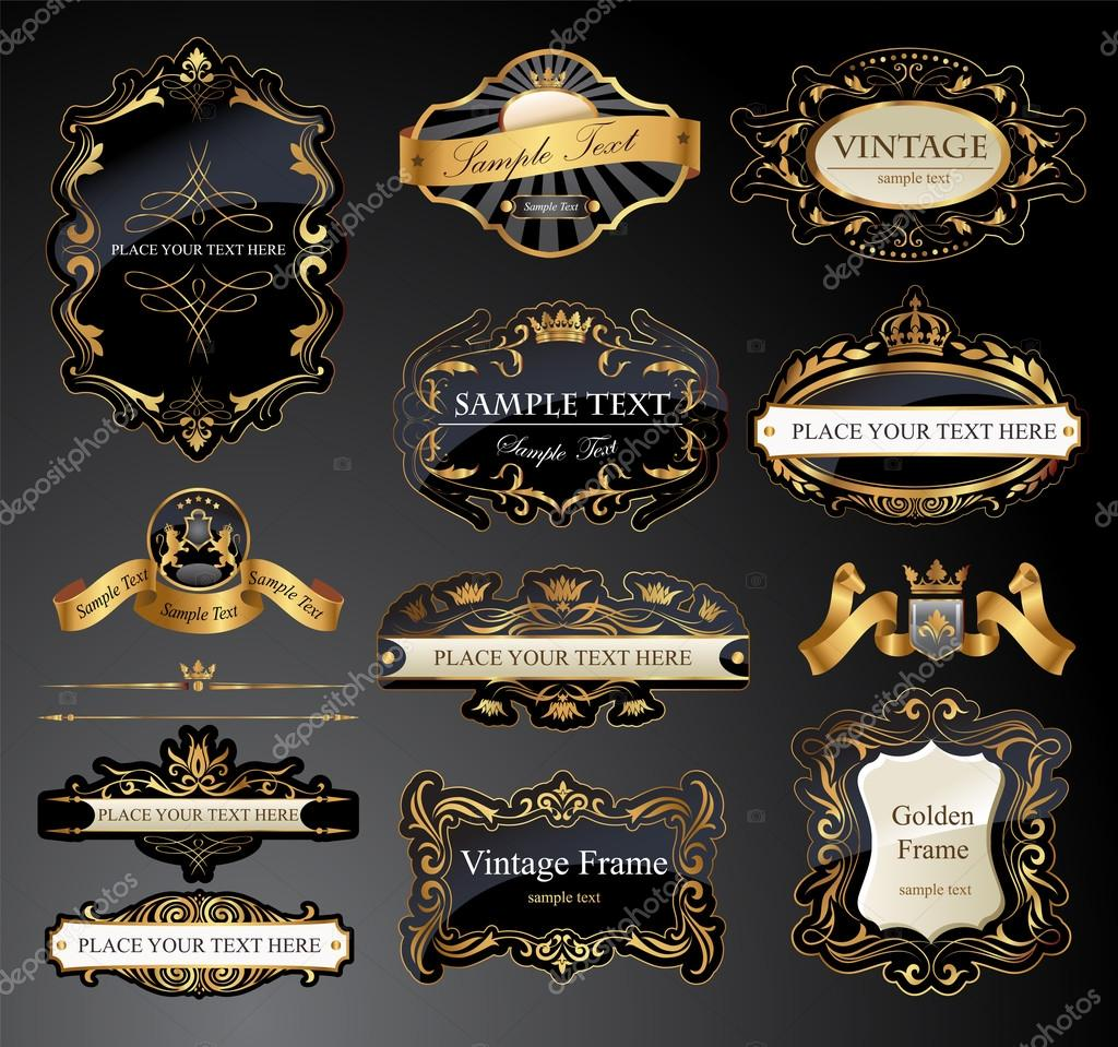 Vector frames and ornamental labels set.