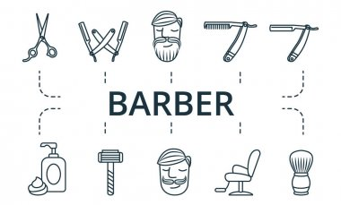Barber icon set. Collection contain pack of pixel perfect creative icons. Barber elements set icon