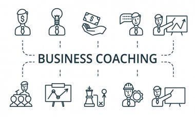 Business Coaching icon set. Collection contain pack of pixel perfect creative icons. Business Coaching elements set. icon