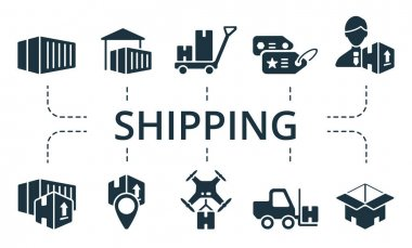 Shipping icon set. Collection contain pack of pixel perfect creative icons. Shipping elements set. icon