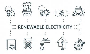 Renewable Electricity icon set. Collection contain pack of pixel perfect creative icons. Renewable Electricity elements set. icon