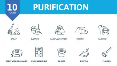 Purification icon set. Collection contain sweep, cleaning, gloves, vacuum and over icons. Purification elements set. icon