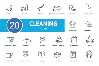 Cleaning icon set. Collection contain cleaning, vacuum, plunger, bucket and over icons. Cleaning elements set. icon