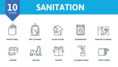 Sanitation icon set. Collection contain window cleaning, dishwasher, robot vacuum cleaner, clean house, dry cleaning and over icons. Sanitation elements set. icon