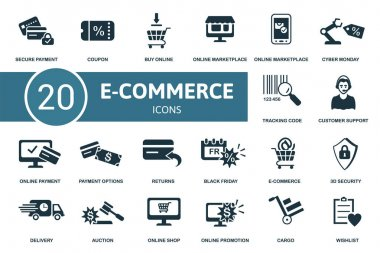 E-Commerce icon set. Collection contain wishlist, secure payment, online marketplace, market app and over icons. E-Commerce elements set. icon