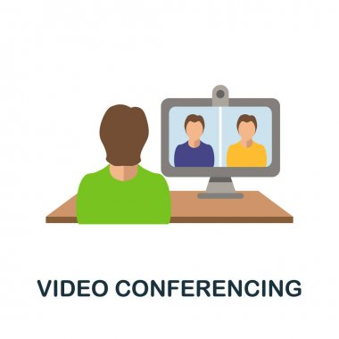 Video Conferencing icon. Simple illustration from online education collection. Monochrome Video Conferencing icon for web design, templates and infographics. icon