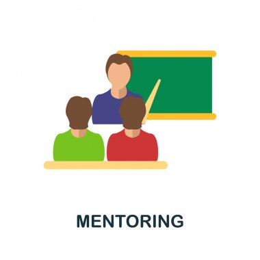 Mentoring flat icon. Colored filled vector element from volunteering collection. Creative Mentoring icon for web design project, templates and infographics.