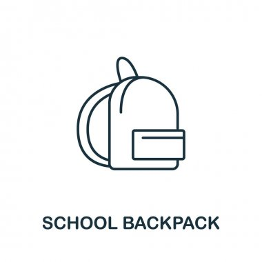 School Backpack icon from education collection. Simple line School Backpack icon for templates, web design and infographics. icon