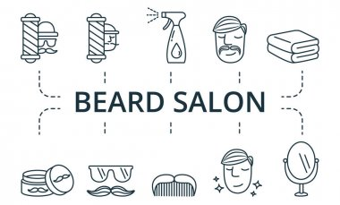 Beard Salon icon set. Collection contain pack of pixel perfect creative icons. Beard Salon elements set icon