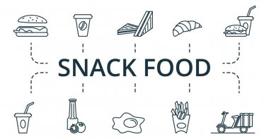 Snack Food icon set. Collection contain pack of pixel perfect creative icons. Snack Food elements set. icon