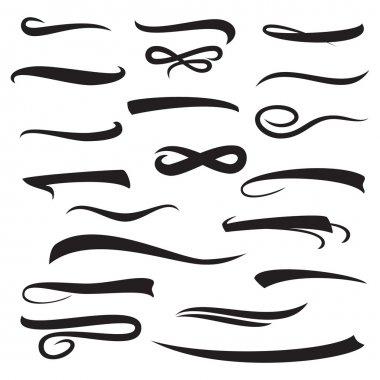 Marker, Underline, Highlighter Marker Strokes, Swoops, Waves Brush Marks Set. Hand Lettering Lines Isolated On White. Typographic Design. Vintage Elements. Vector Illustration