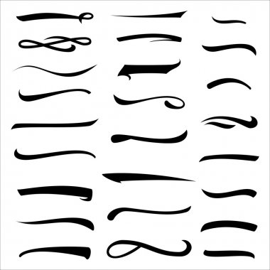 Set Of Hand Lettering Underlines Lines Isolated On White. Stroke, Line, Marker. Typographic Design. Vintage Elements For Housewarming Posters, Greeting Cards, Home Decorations. Vector Illustration