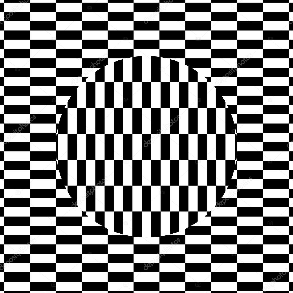 Illustration of black and white phenomenal optical illusion 3d effect moving circle vector