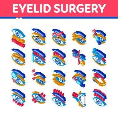 Eyelid Surgery Healthy Icons Set Vector. Isometric Eyelid Surgery Blepharoplasty Cosmetic Correction, Injection And Smoothing Wrinkles Illustrations icon