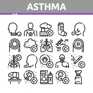Asthma Sick Allergen Collection Icons Set Vector. Asthma Allergy On Animal And Smoke, Flowers, Factory Smog And Dust, Medical Tool And Lungs Concept Linear Pictograms. Monochrome Contour Illustrations icon