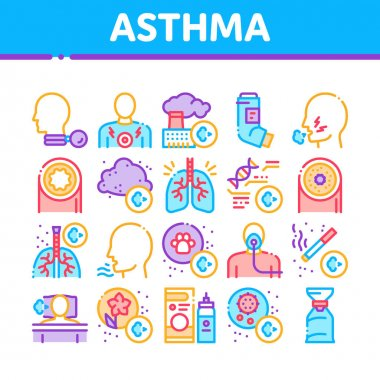 Asthma Sick Allergen Collection Icons Set Vector. Asthma Allergy On Animal And Smoke, Flowers, Factory Smog And Dust, Medical Tool And Lungs Concept Linear Pictograms. Contour Illustrations icon