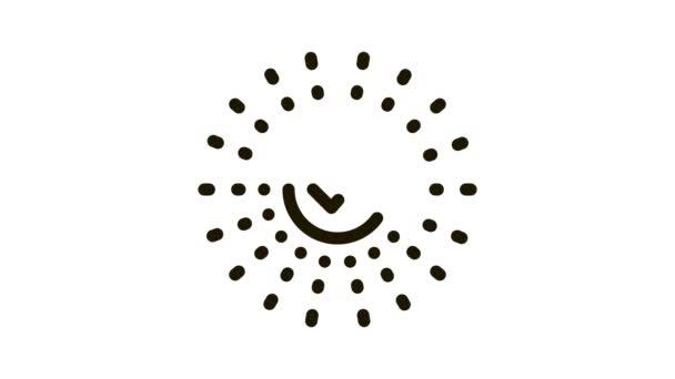 Schválená značka ve středu animace ikon paprsků