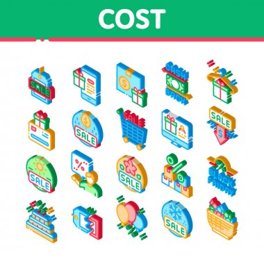 Cost Reduction Sale Icons Set Vector. Isometric Winter And Summer Seasonal Cost Reduction, Discount Card And Black Friday, Cashback And Gift Illustrations icon
