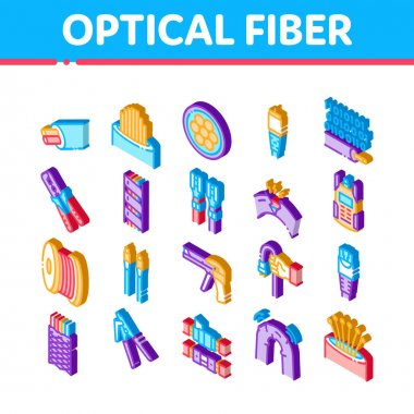 Optical Fiber Cable Icons Set Vector. Isometric Fiber Repair Instrument And Electrical Device For Test Connection, Cord Roll Bobbin And Damaged Illustrations icon