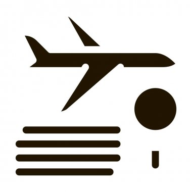 Plane Magnifier glyph icon vector. Plane Magnifier Sign. isolated symbol illustration icon