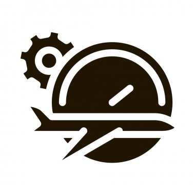 Plane Watch Gear glyph icon vector. Plane Watch Gear Sign. isolated symbol illustration icon