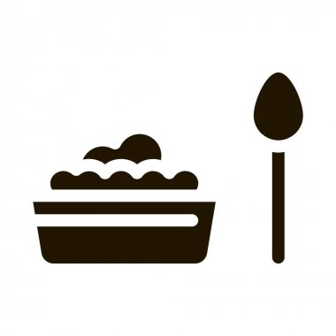 Food Plate Spoon glyph icon vector. Food Plate Spoon Sign. isolated symbol illustration icon