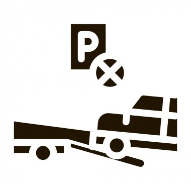 Wrong Parking Car glyph icon vector. Wrong Parking Car Sign. isolated symbol illustration icon