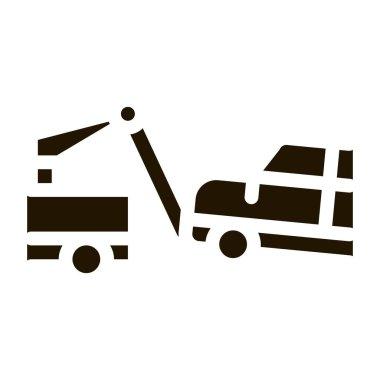 Towing Broken Car glyph icon vector. Towing Broken Car Sign. isolated symbol illustration icon
