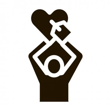 Human Hold Heart glyph icon vector. Human Hold Heart Sign. isolated symbol illustration icon
