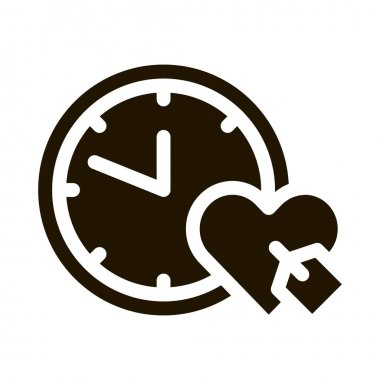 Clock Time Heart glyph icon vector. Clock Time Heart Sign. isolated symbol illustration icon