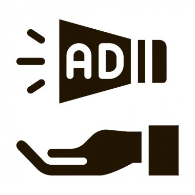 Loudspeaker Hand glyph icon vector. Loudspeaker Hand Sign. isolated symbol illustration icon
