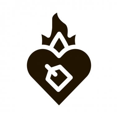 Burning Heart glyph icon vector. Burning Heart Sign. isolated symbol illustration icon