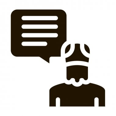 Old Man Speaking glyph icon vector. Old Man Speaking Sign. isolated symbol illustration icon
