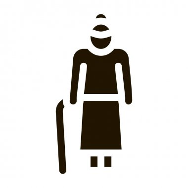 Old Woman Stick glyph icon vector. Old Woman Stick Sign. isolated symbol illustration icon