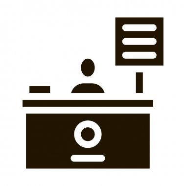 Cashier Table glyph icon vector. Cashier Table Sign. isolated symbol illustration icon