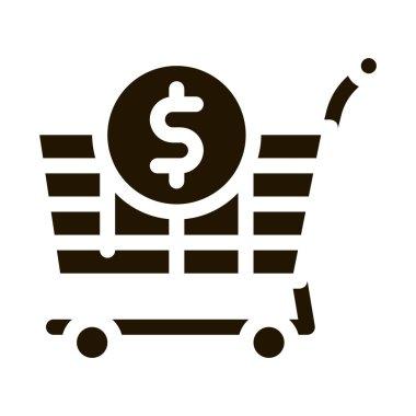 Shop Cart Dollar glyph icon vector. Shop Cart Dollar Sign. isolated symbol illustration icon