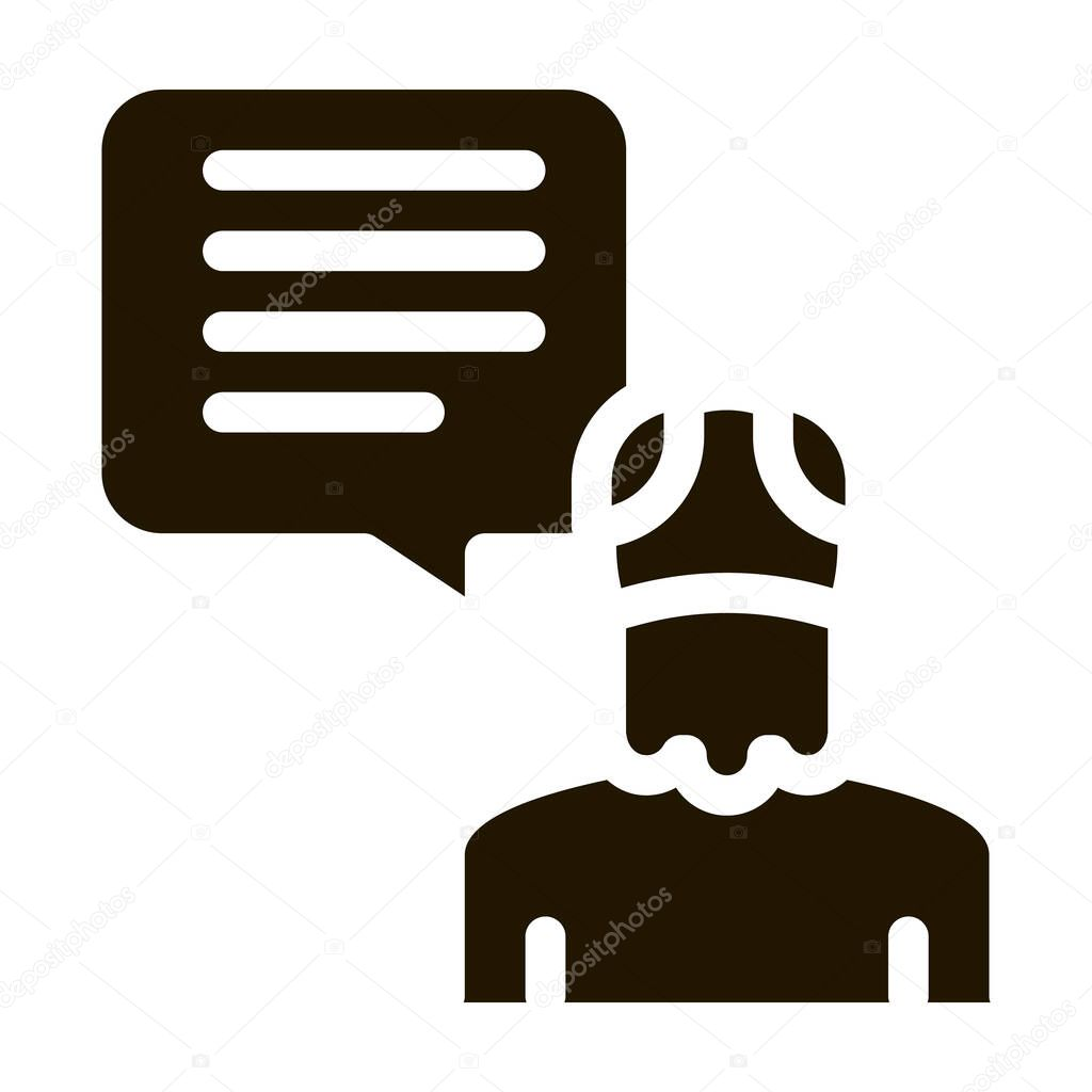Old Man Speaking glyph icon vector icon