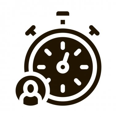 Stopwatch Human glyph icon vector. Stopwatch Human Sign. isolated symbol illustration icon