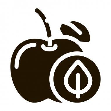 Apple Fruit Leaf glyph icon vector. Apple Fruit Leaf Sign. isolated symbol illustration icon