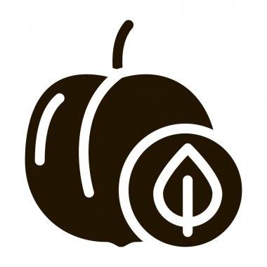 Peach Fruit Leaf glyph icon vector. Peach Fruit Leaf Sign. isolated symbol illustration icon