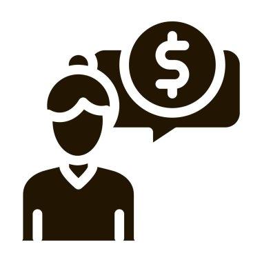 Woman Dollar Mark glyph icon vector. Woman Dollar Mark Sign. isolated symbol illustration icon