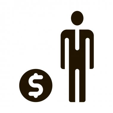 Human Dollar Coin glyph icon vector. Human Dollar Coin Sign. isolated symbol illustration icon
