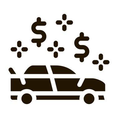 Car Dollar Mark glyph icon vector. Car Dollar Mark Sign. isolated symbol illustration icon