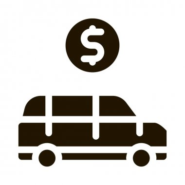 Car Dollar Coin glyph icon vector. Car Dollar Coin Sign. isolated symbol illustration icon