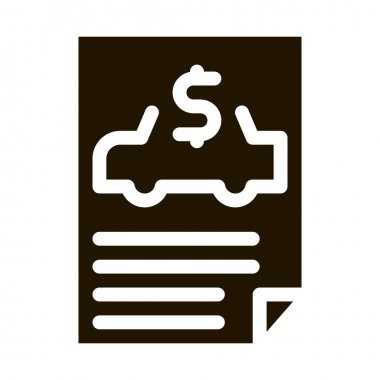 Car Buy Document glyph icon vector. Car Buy Document Sign. isolated symbol illustration icon