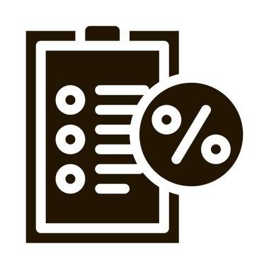 Checklist Percent glyph icon vector. Checklist Percent Sign. isolated symbol illustration icon