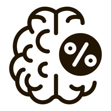 Brain Percentage glyph icon vector. Brain Percentage Sign. isolated symbol illustration icon